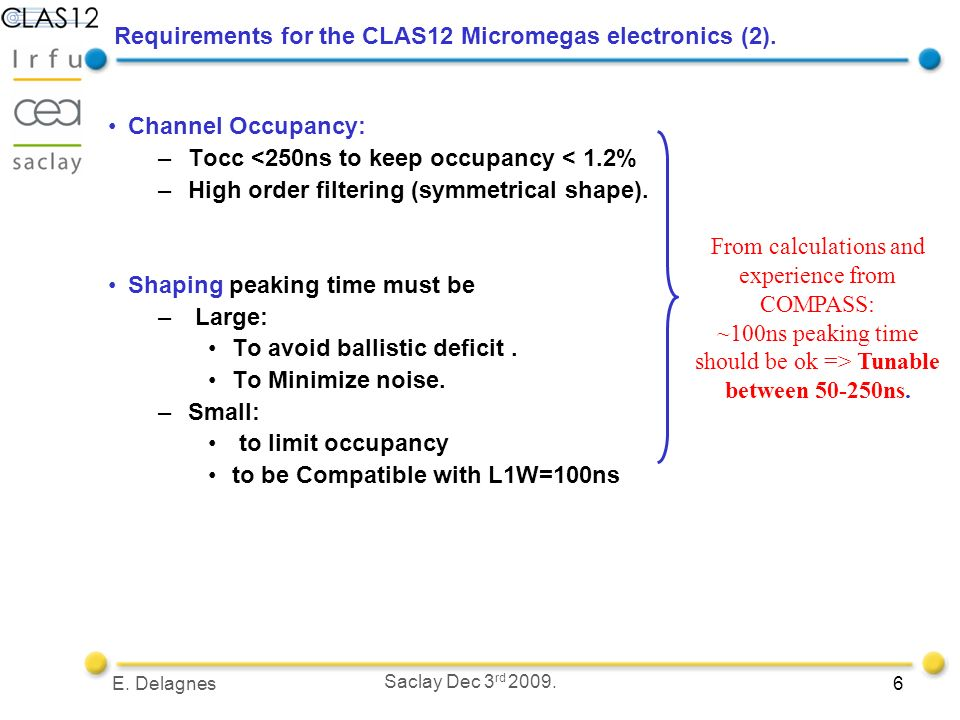 6E. Delagnes Saclay Dec 3 rd Requirements for the CLAS12 Micromegas electronics (2).