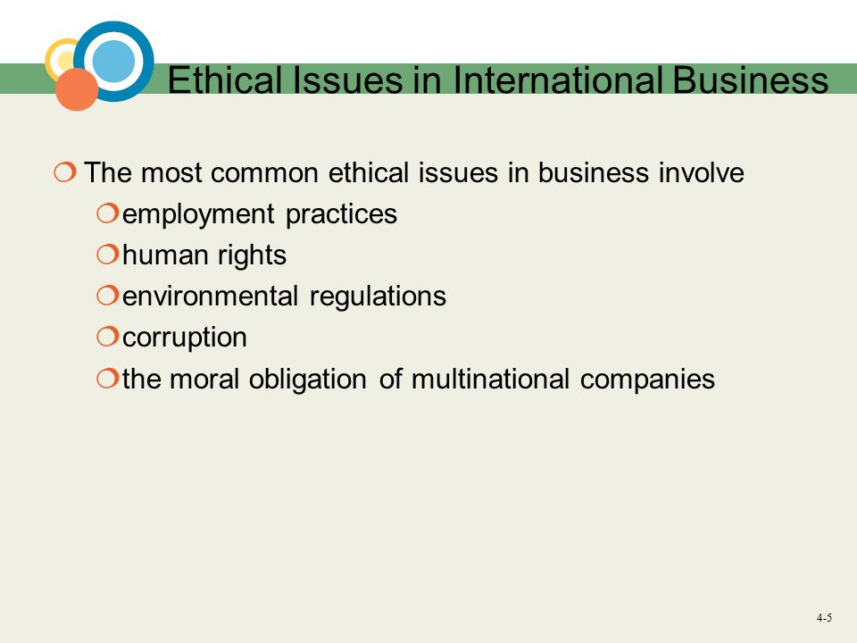 5 ethical issues in international business