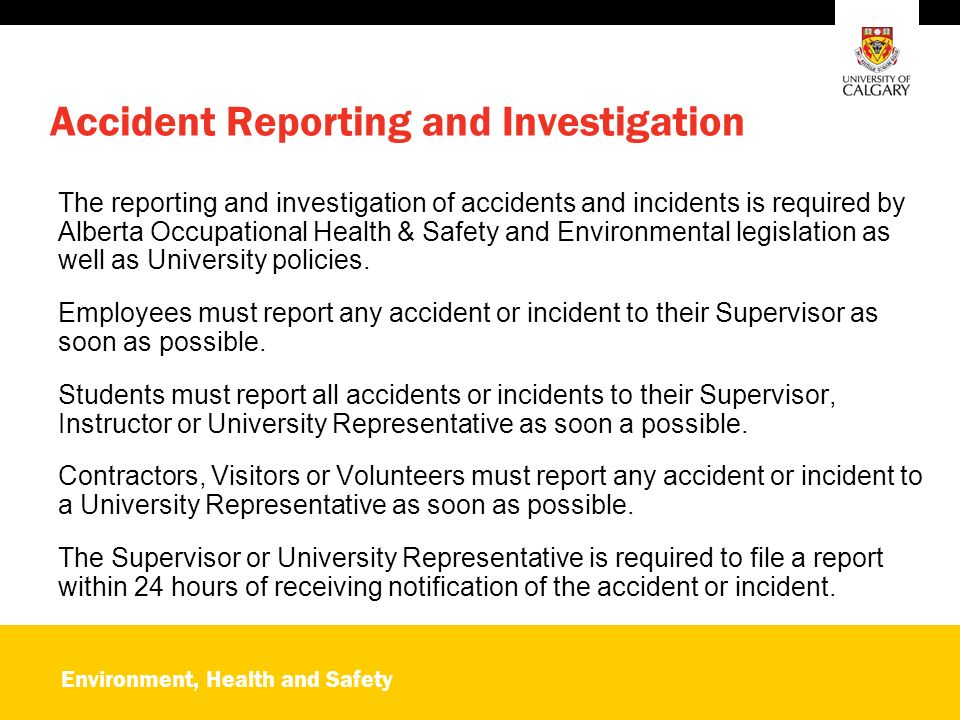 Environment, Health and Safety OARS Online Accident