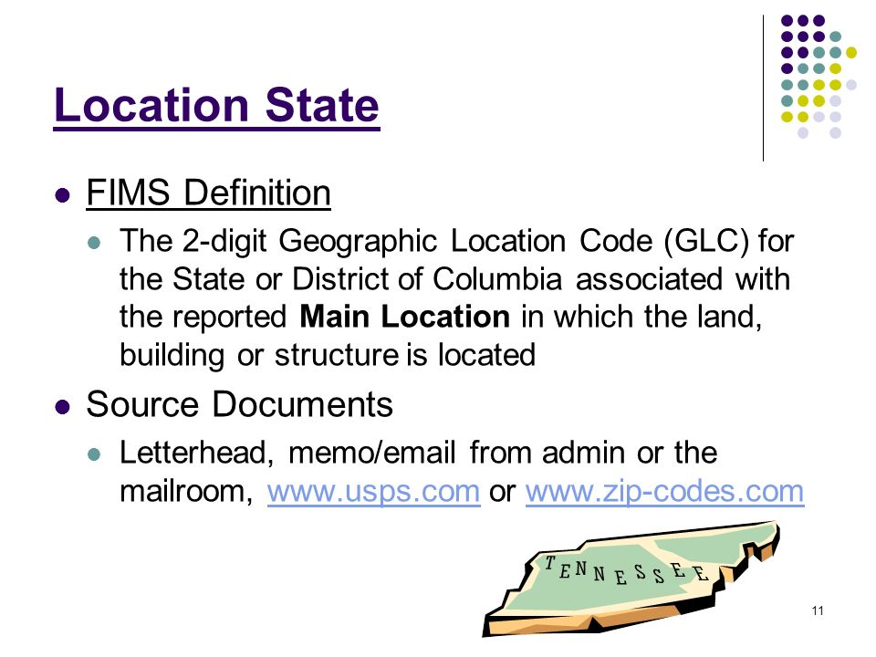 1 Facilities Information Management System FIMS Location Addresses