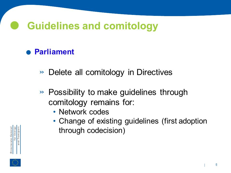 | 8 Guidelines and comitology.
