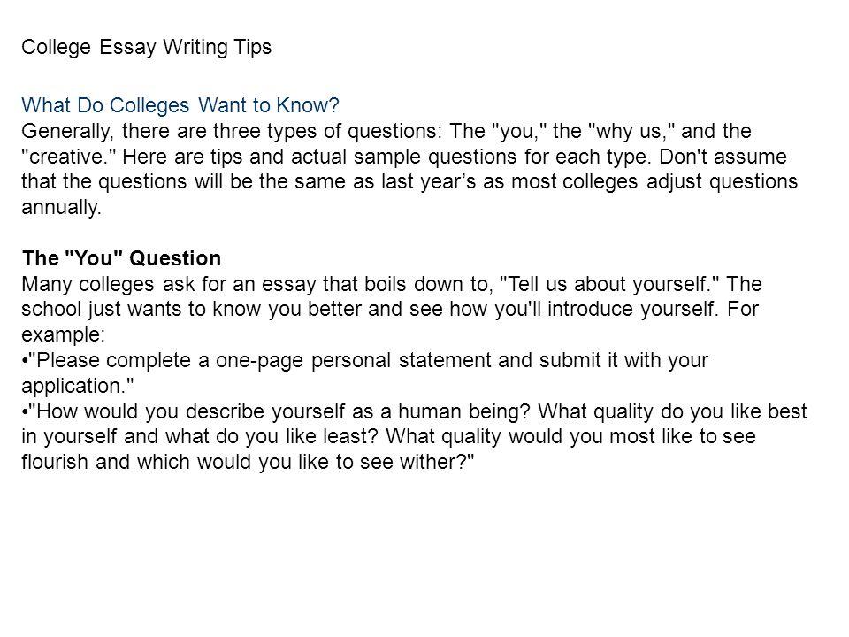 types of college essays