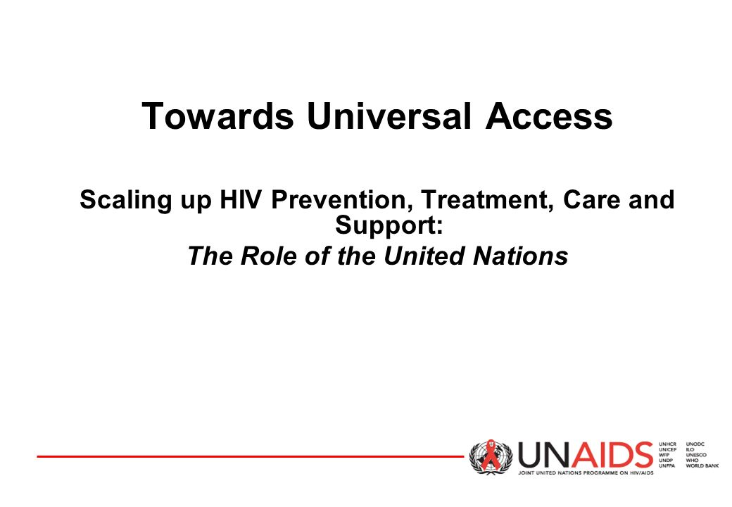 Towards Universal Access Scaling up HIV Prevention, Treatment, Care and Support: The Role of the United Nations