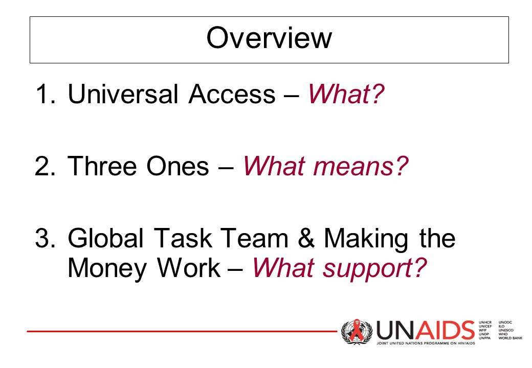 Overview 1.Universal Access – What. 2.Three Ones – What means.