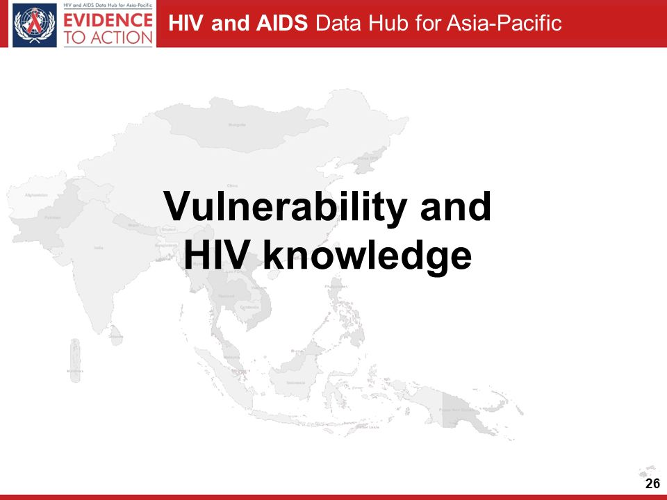 HIV and AIDS Data Hub for Asia-Pacific 26 Vulnerability and HIV knowledge