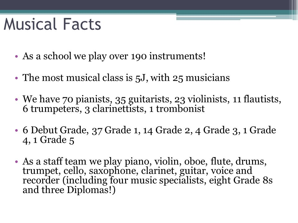 Music At Amherst School Musical Facts As A School We Play Over 190