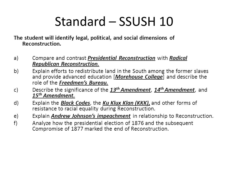 Standard Ssush 10 The Student Will Identify Legal Political And