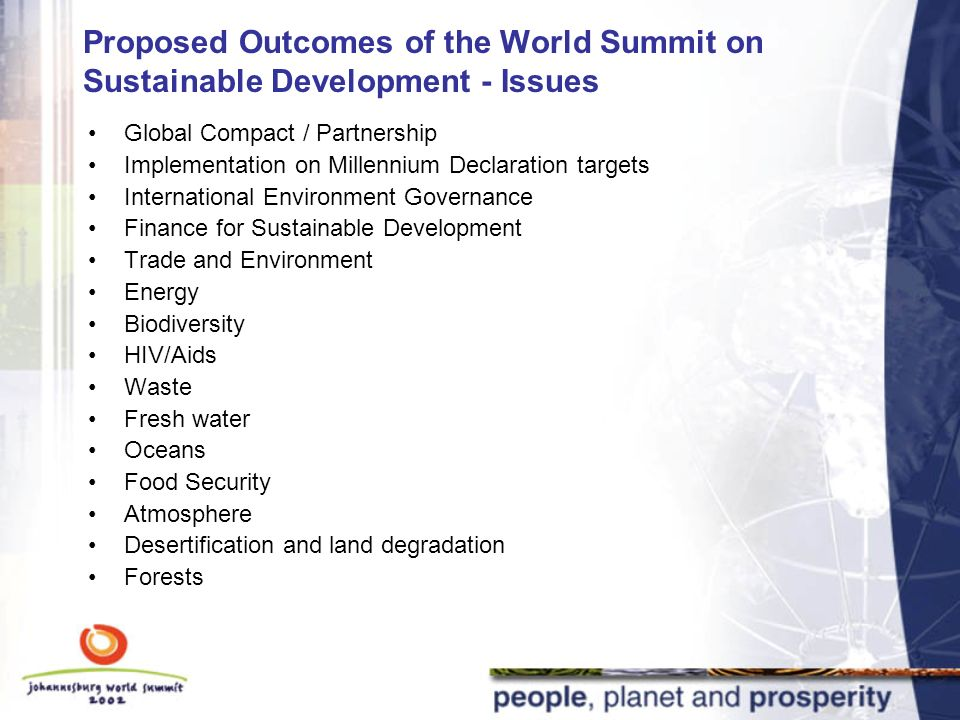 KEY FOCUS  Proposed Outcomes of the World Summit on