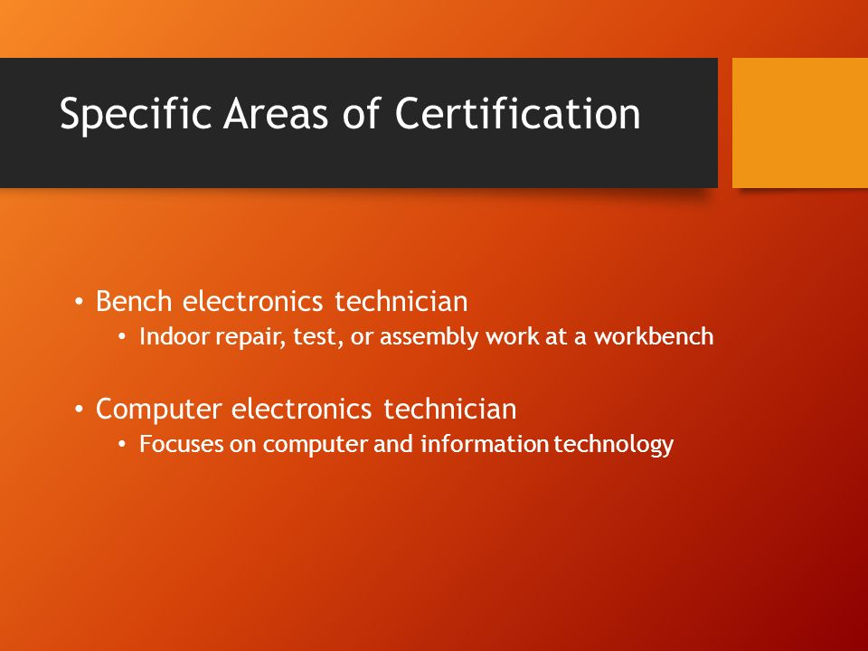 Certifications For The Electronics Field Introduction This Lesson
