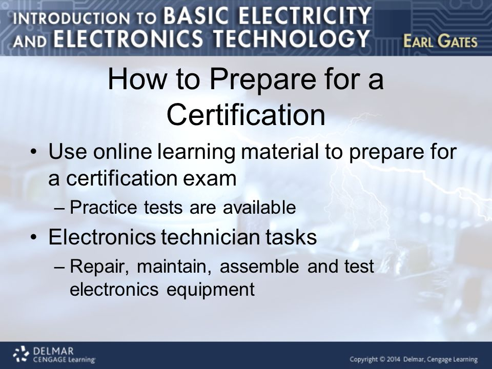 Chapter 2 Certification For The Electricity And Electronics Field