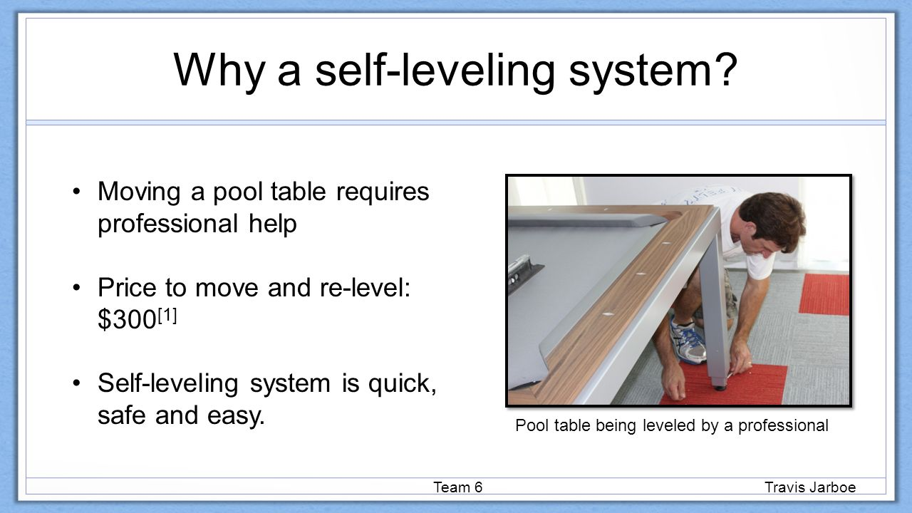 Interim Design Review SelfLeveling StowAway Pool Table Beyond - Pool table leveling system