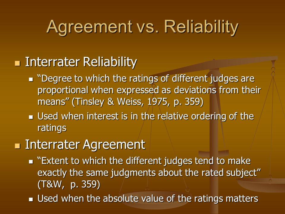 Reliability Agreement Deshon Internal Consistency Reliability
