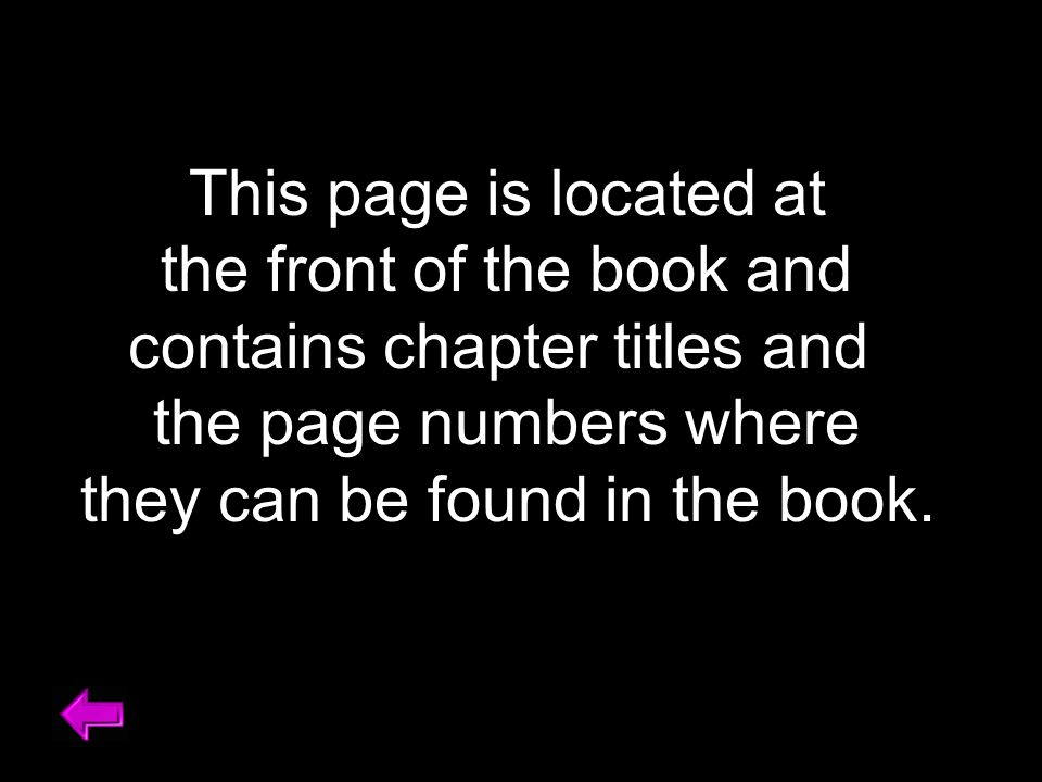 This page is located at the front of the book and contains chapter titles and the page numbers where they can be found in the book.
