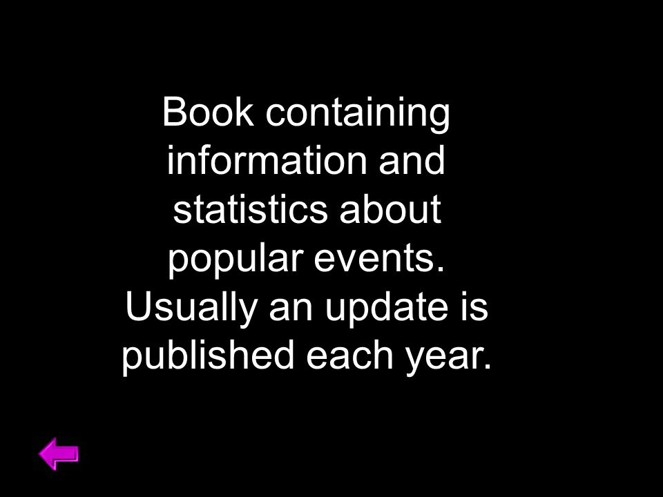 Book containing information and statistics about popular events.