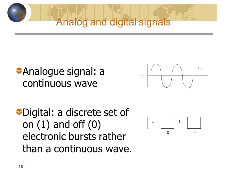 10 Analogue signal: a continuous wave Digital: a discrete set of on (1) and off (0) electronic bursts rather than a continuous wave.