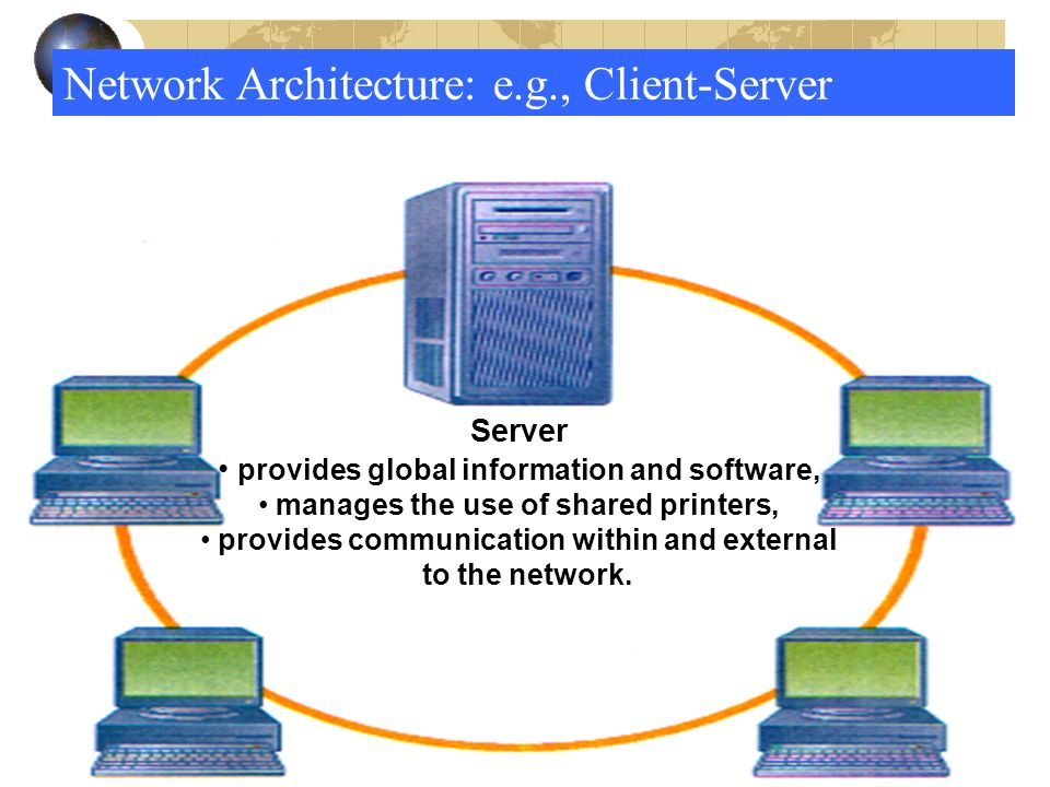 25 Network Architecture: e.g., Client-Server Server provides global information and software, manages the use of shared printers, provides communication within and external to the network.