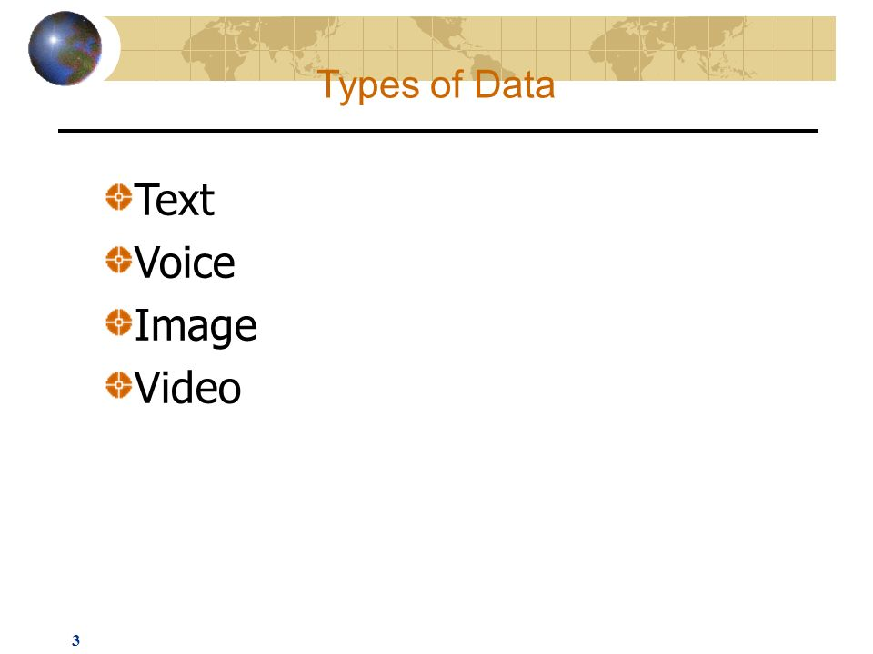 3 Text Voice Image Video Types of Data