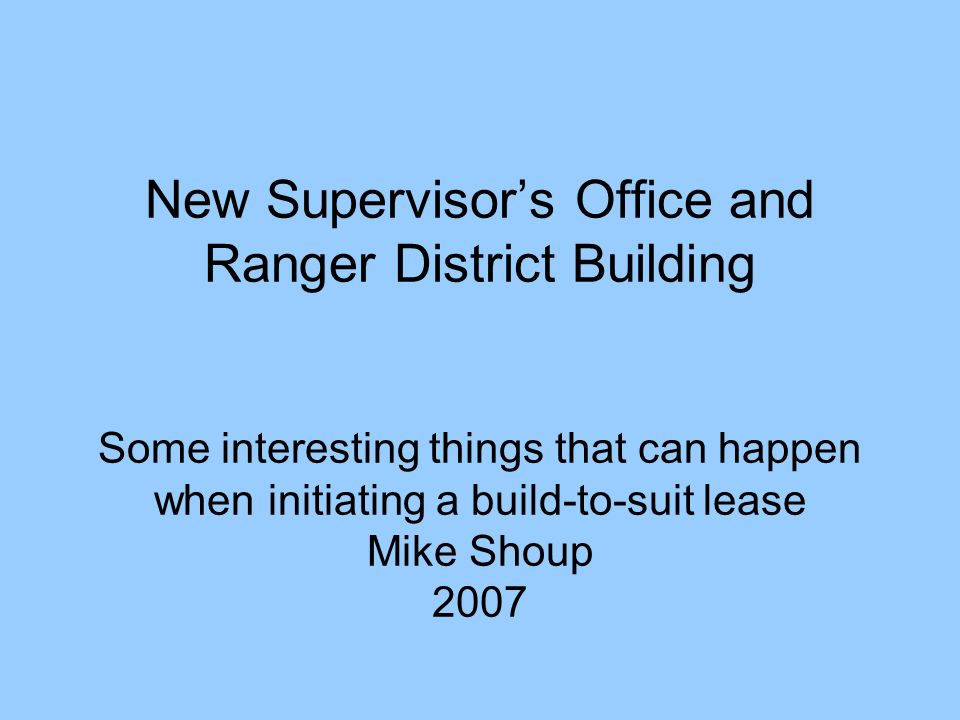 New Supervisor\'s Office and Ranger District Building Some ...
