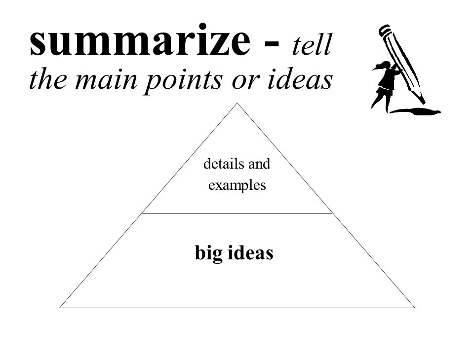 summarize - tell the main points or ideas details and examples big ideas