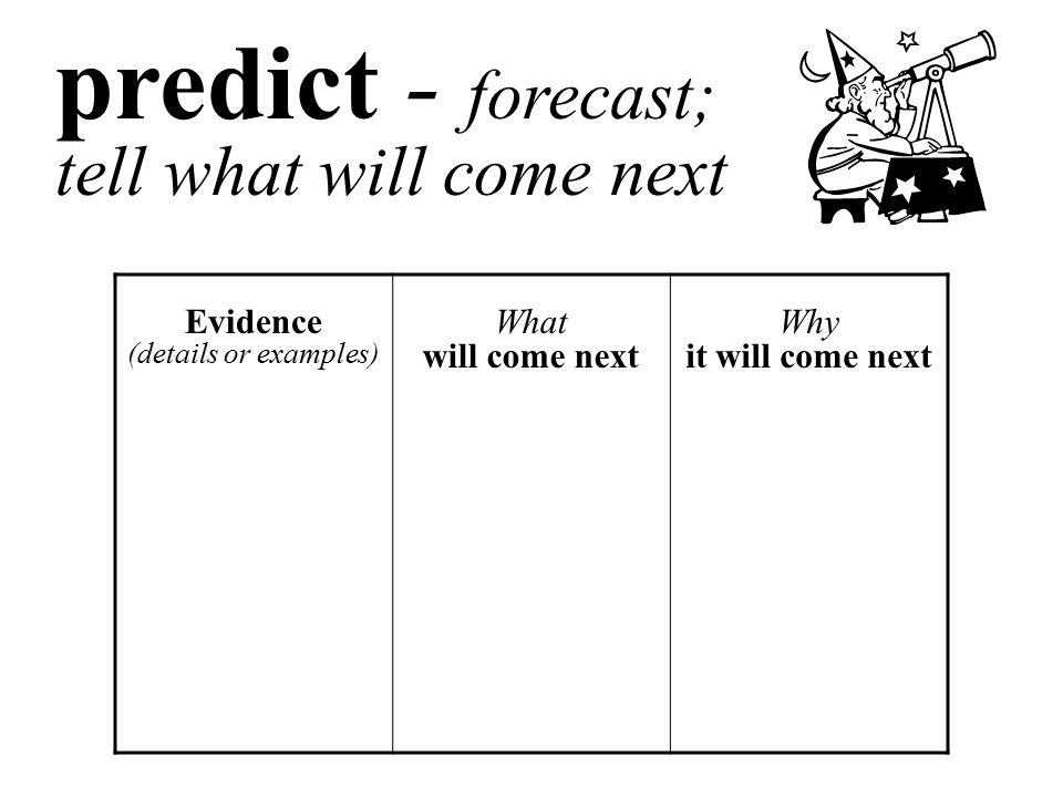 predict - forecast; tell what will come next Evidence (details or examples) What will come next Why it will come next