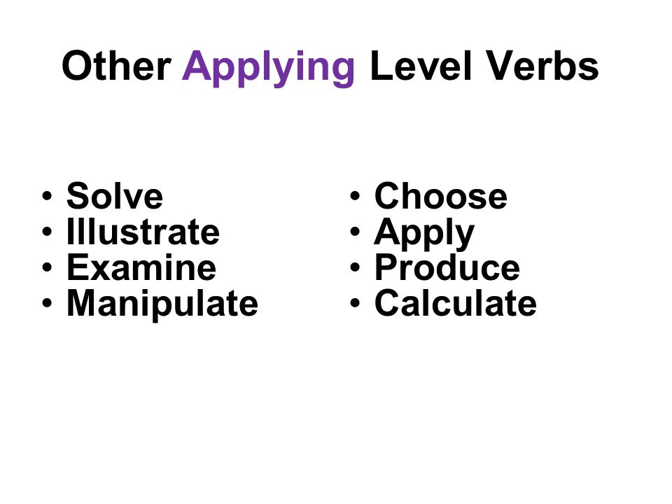 Other Applying Level Verbs Solve Illustrate Examine Manipulate Choose Apply Produce Calculate