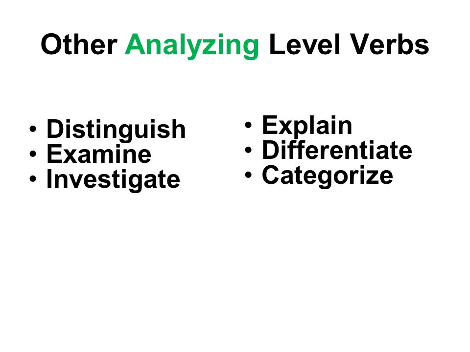 Other Analyzing Level Verbs Distinguish Examine Investigate Explain Differentiate Categorize