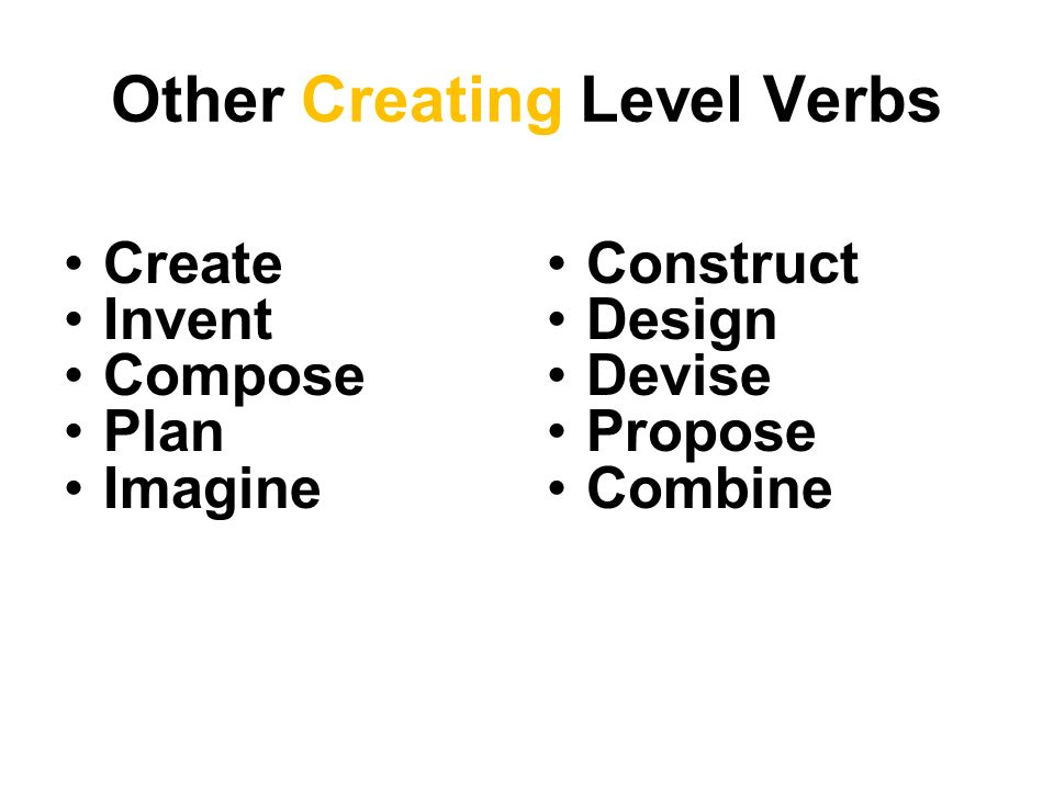 Other Creating Level Verbs Create Invent Compose Plan Imagine Construct Design Devise Propose Combine