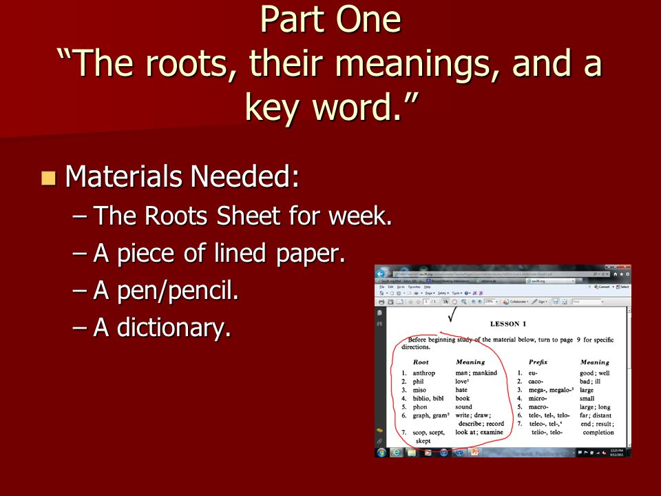Part One The Roots Their Meanings And A Key Word Materials Needed