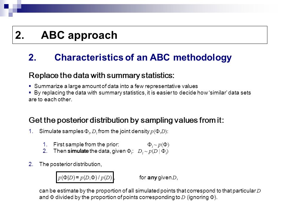 Replace The Data With Summary Statistics 2ABC Approach 2Characteristics Of An