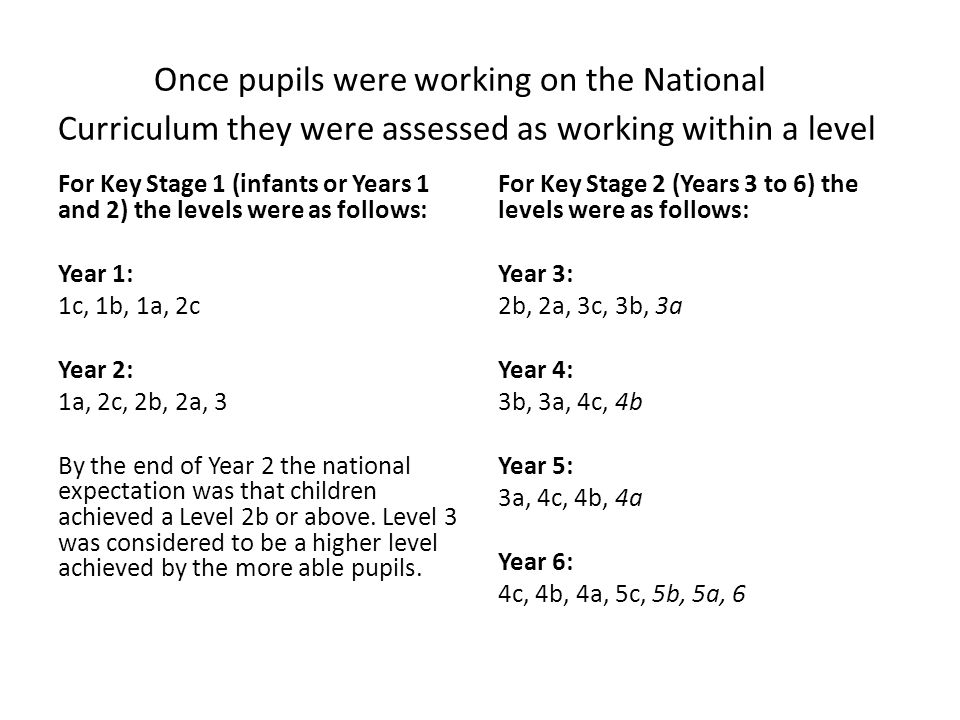 Once pupils were working on the National Curriculum they were assessed as working within a level For Key Stage 1 (infants or Years 1 and 2) the levels were as follows: Year 1: 1c, 1b, 1a, 2c Year 2: 1a, 2c, 2b, 2a, 3 By the end of Year 2 the national expectation was that children achieved a Level 2b or above.