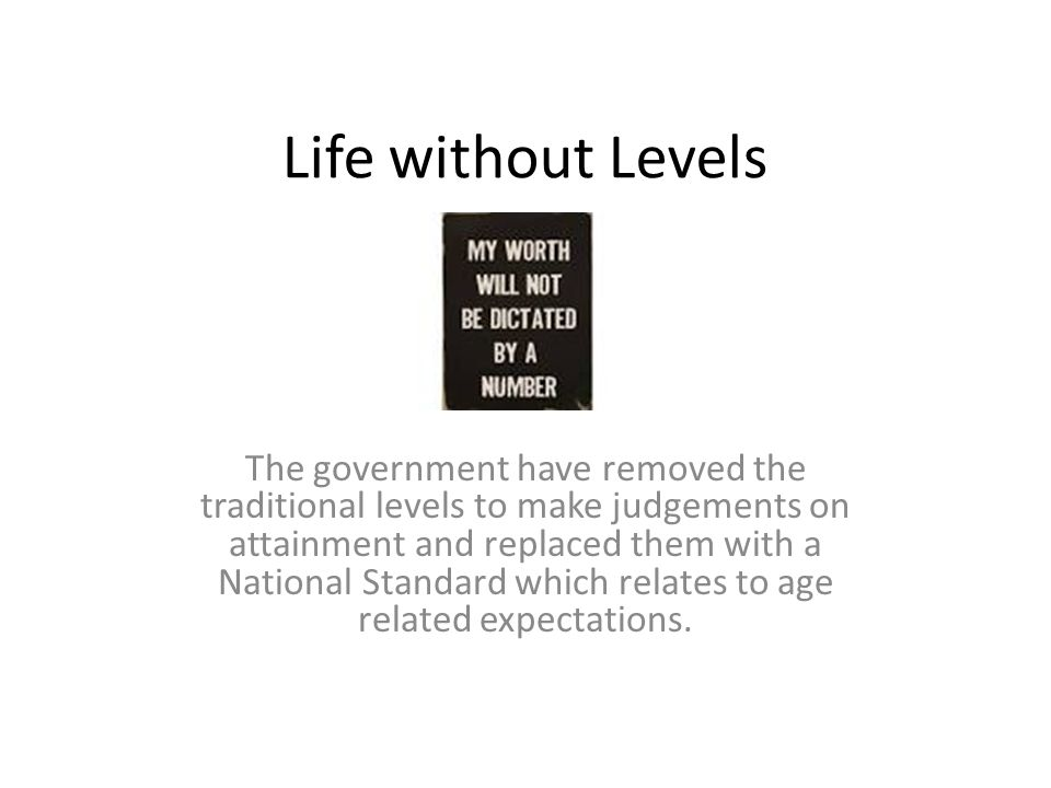 Life without Levels The government have removed the traditional levels to make judgements on attainment and replaced them with a National Standard which relates to age related expectations.