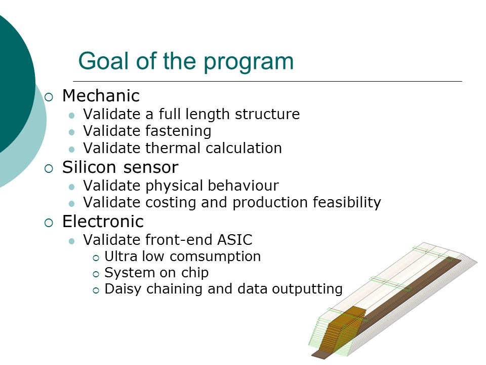 Goal of the program  Mechanic Validate a full length structure Validate fastening Validate thermal calculation  Silicon sensor Validate physical behaviour Validate costing and production feasibility  Electronic Validate front-end ASIC  Ultra low comsumption  System on chip  Daisy chaining and data outputting