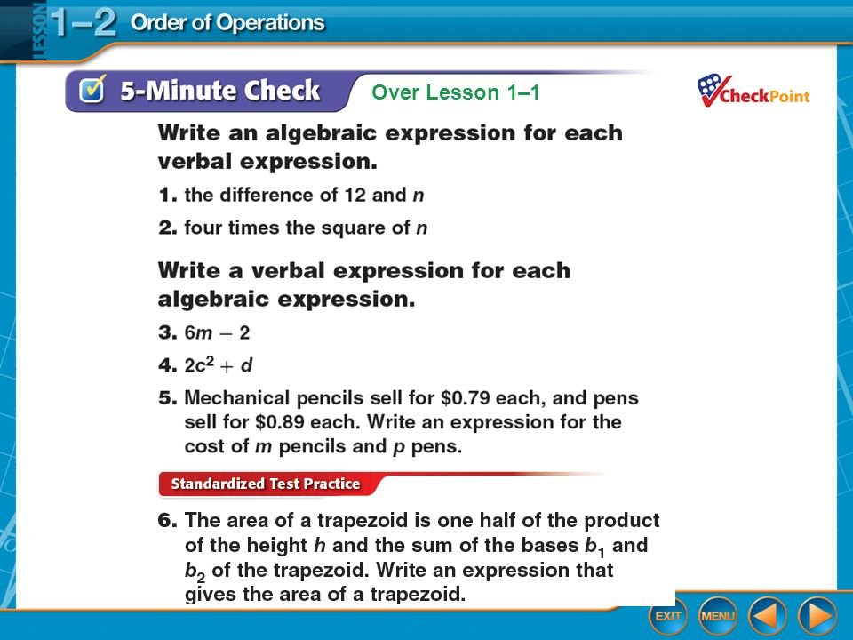 Lesson 1-2 Glencoe Algebra 1 Order of operations Lesson 1-2 Glencoe