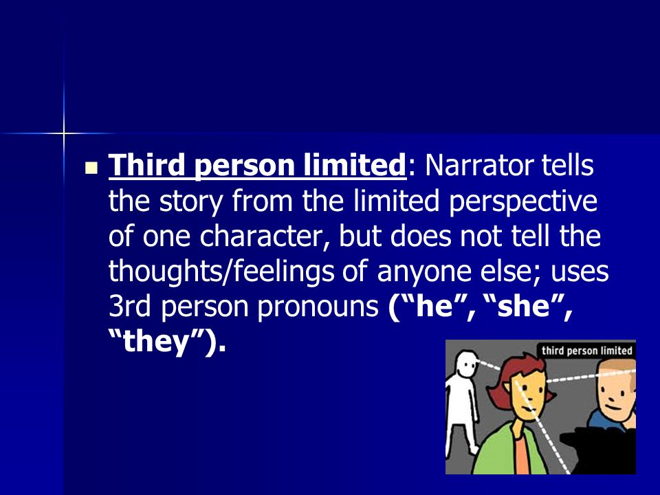 Third person limited: Narrator tells the story from the limited perspective of one character, but does not tell the thoughts/feelings of anyone else; uses 3rd person pronouns ( he , she , they ).