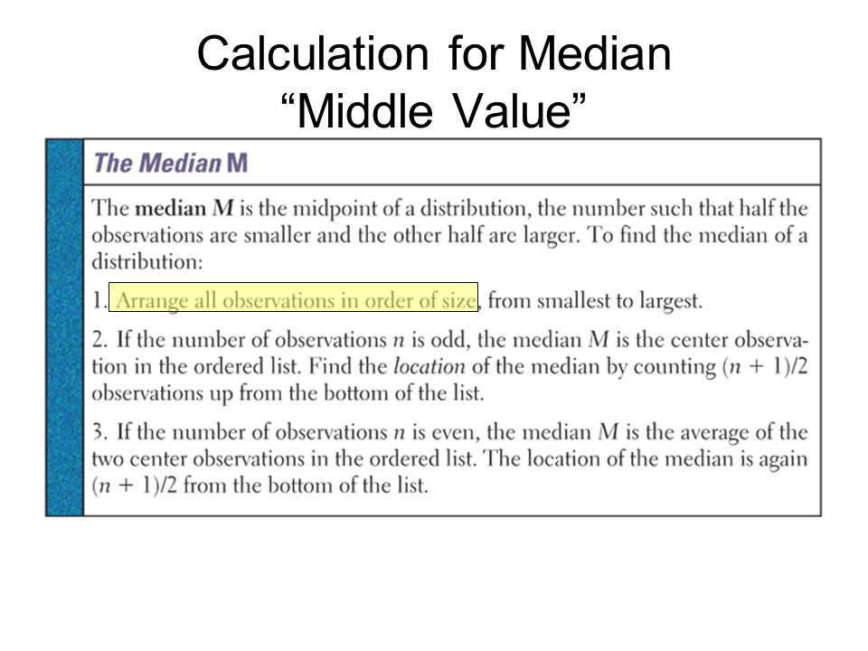 Calculation for Median Middle Value