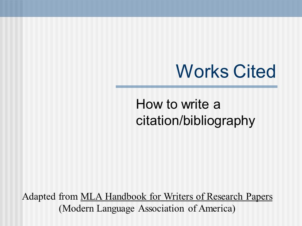 works cited for research paper Overview of mla style research papers the layout for works cited pages follows the same as previous mla pages.