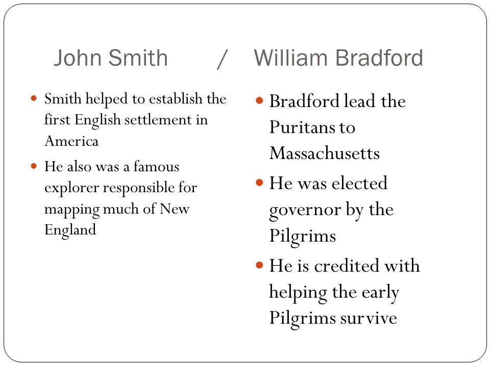 john smith and william bradford