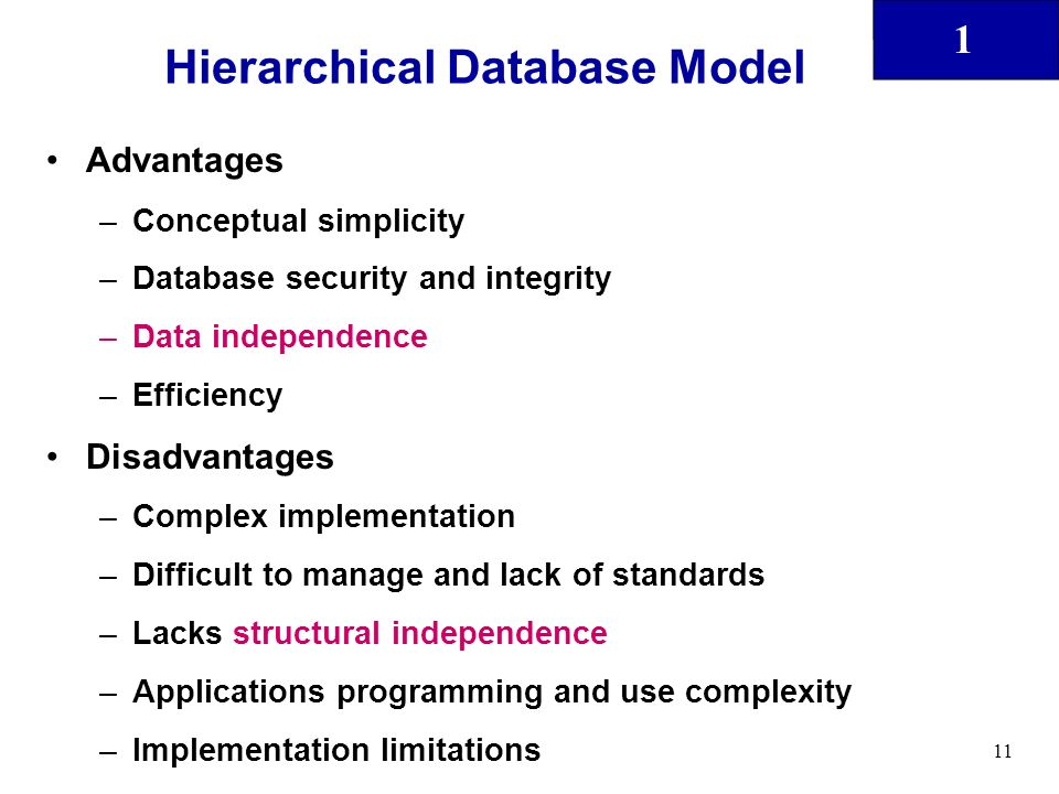 disadvantages of hierarchical database