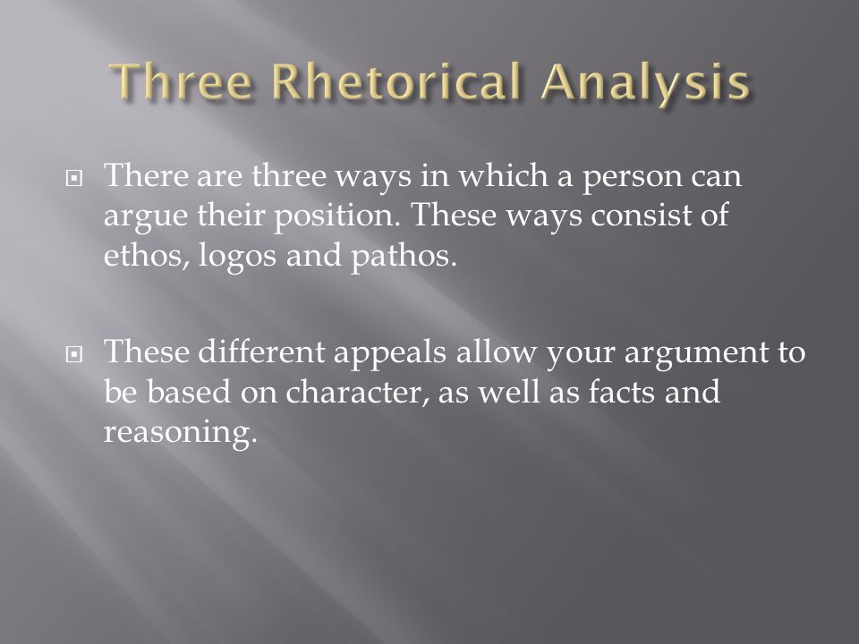  There are three ways in which a person can argue their position.