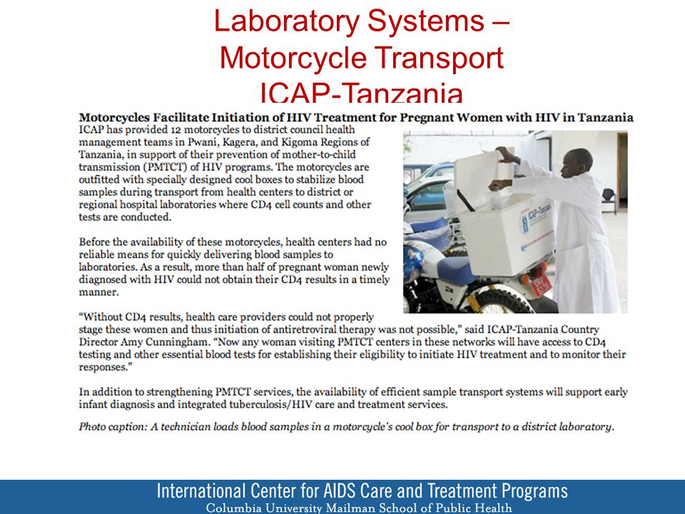 Laboratory Systems – Motorcycle Transport ICAP-Tanzania
