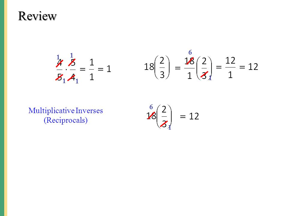 Review Multiplicative Inverses (Reciprocals)
