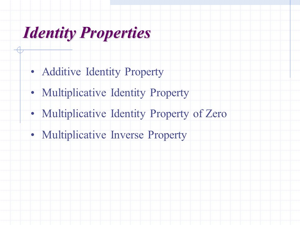 Identity Properties Additive Identity Property Multiplicative Identity Property Multiplicative Identity Property of Zero Multiplicative Inverse Property
