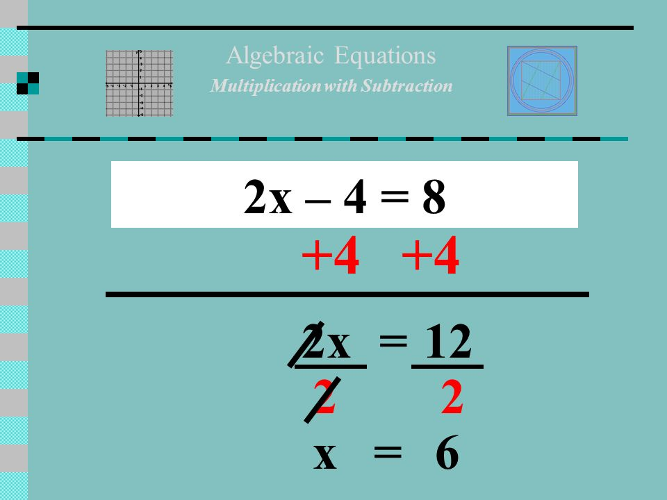SOLVING MULTI-STEP EQUATIONS Algebraic Equations Multiplication with ...
