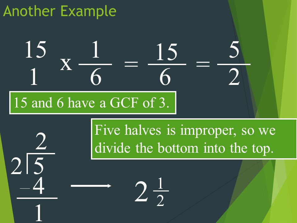 Another Example 15 x 1 61 = 6 15 and 6 have a GCF of 3.