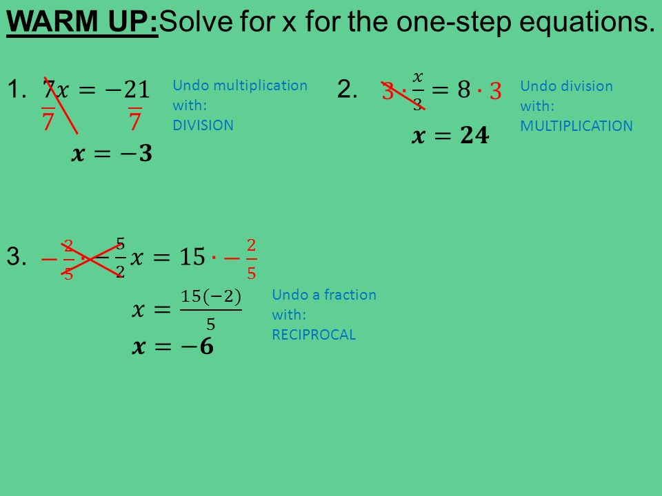 TODAY IN ALGEBRA…  Warm Up: Solving one-step equations  Learning ...