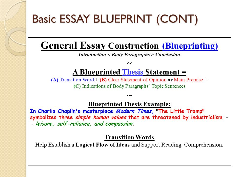 Essay Writing Review Spring Semester  Student Support Services  Basic Essay Blueprint Cont General Essay Construction Blueprinting  Introduction Conclusion  A