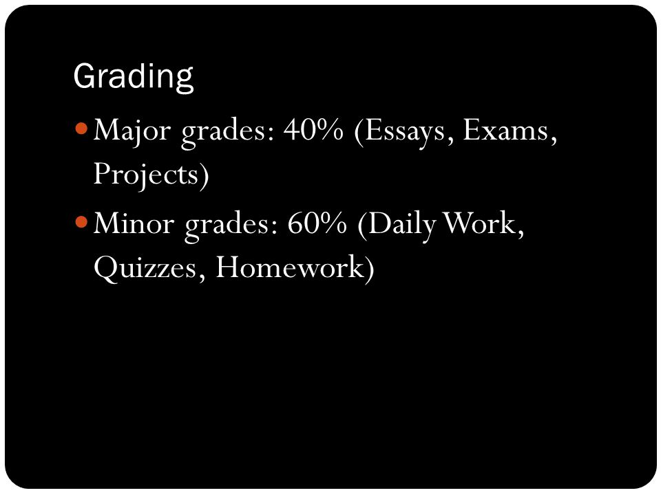 Grading Major grades: 40% (Essays, Exams, Projects) Minor grades: 60% (Daily Work, Quizzes, Homework)