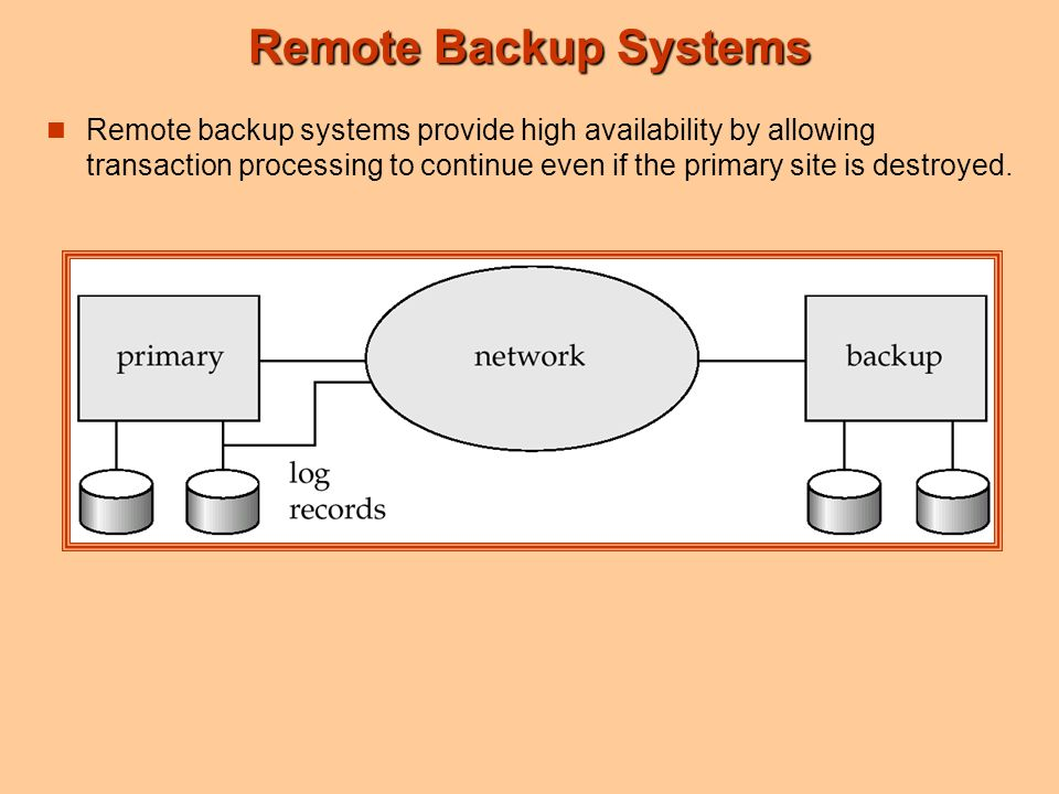 Remote Backup Systems Remote backup systems provide high availability by allowing transaction processing to continue even if the primary site is destroyed.