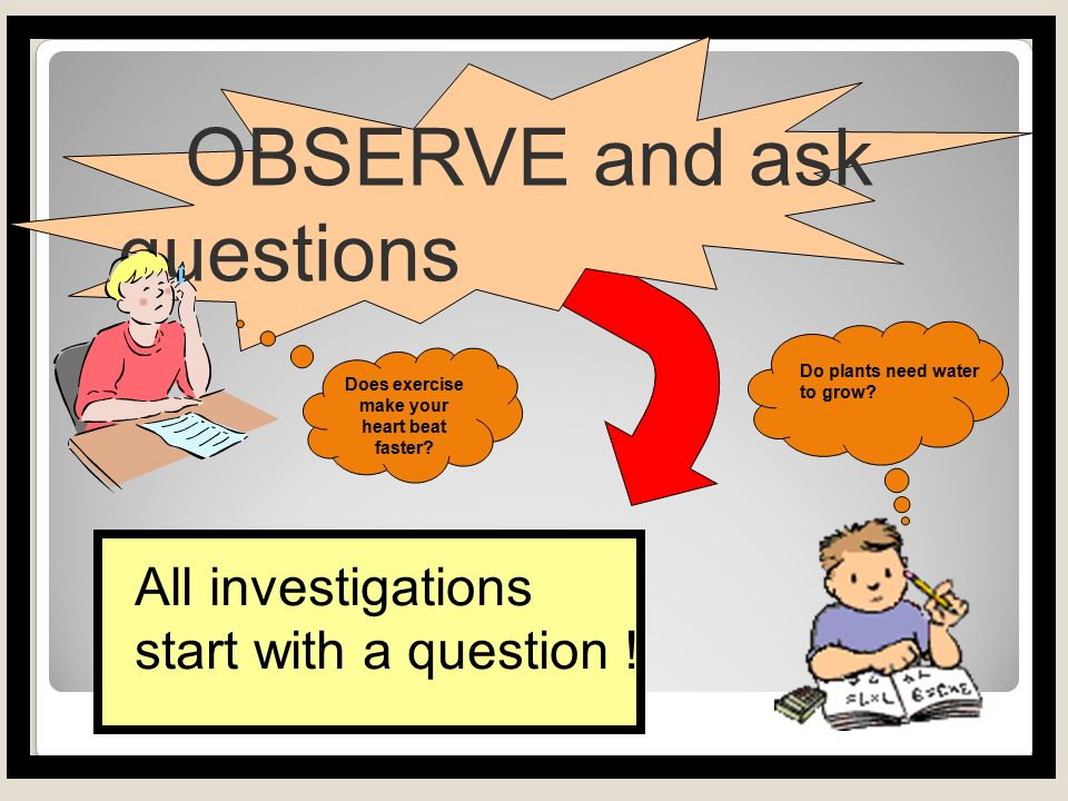 1.Observe FIRST. Make an OBSERVATION, ask a QUESTION or IDENTIFY a problem.
