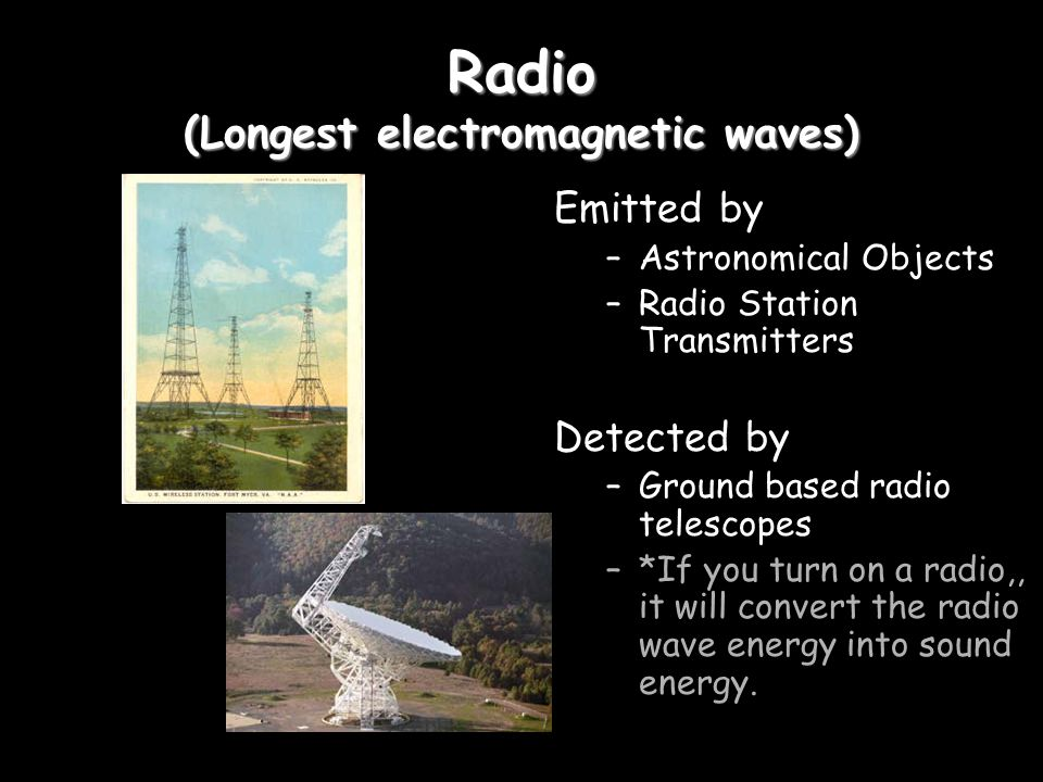 Microwave Emitted by: –Gas clouds collapsing into stars –Microwave Ovens –Radar Stations –Cell Phones Detected by –Microwave Telescopes –Food (heated) –Cell phones –Radar (systems)
